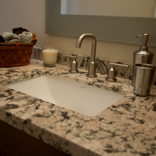 Granite bathroom countertop installed