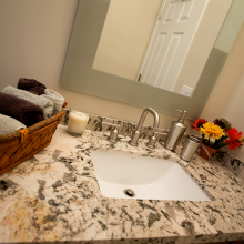 Granite Bathroom Counter top with Tile backsplash installed in Phoenix