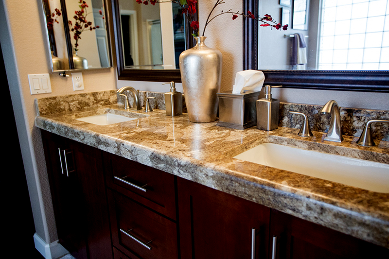 Top View Granite Bathroom Counter Top Top View Of Venetian Gold Granite Countertop With Rectangular Washbasin Installed In Phoenix Home
