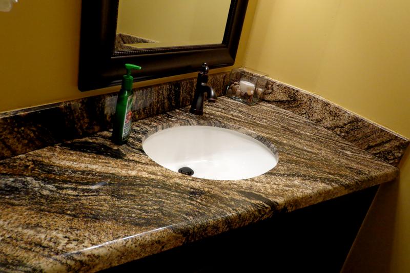 Granite Bathroom Counter top in a corner space Installed in Phoenix Granite  Bathroom Sink