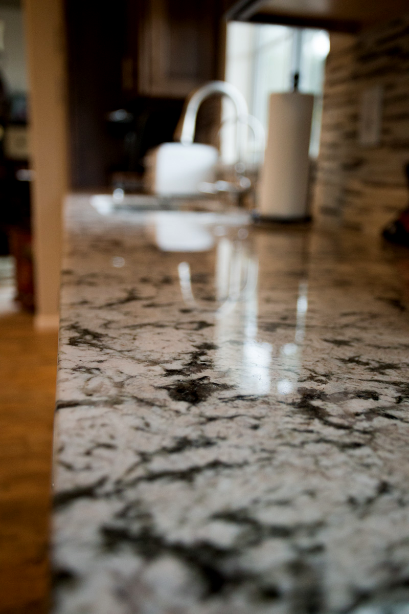Arizona Granite black and white kitchen countertop on a closer view