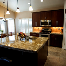 Arizona Granite on kitchen countertop and center table