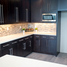 Granite Slabs Phoenix light colored compliments dark cabinets