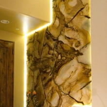 Granite counter top Stone Wood wall accent